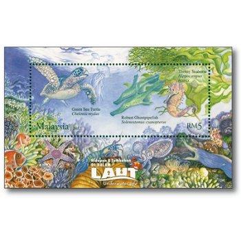 Faszinierende Unterwasserwelt - Briefmarken-Block, Malaysia
