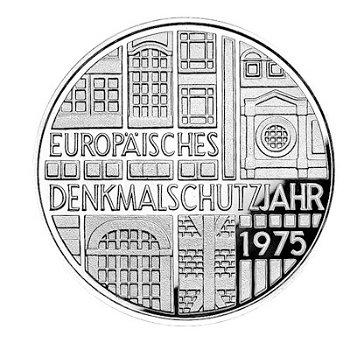 """5-DM-Silbermünze """"Europäisches Denkmalschutzjahr"""", Polierte Platte"""