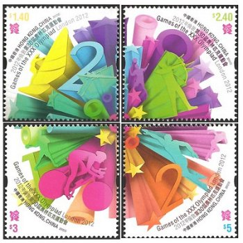Olympische Spiele 2012 - vier Briefmarken, Hongkong