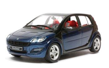 Modellauto:Smart forfour, blau-schwarz(Schuco, 1:43)
