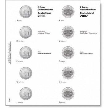 Lindner Vordruckblatt 2006/07 für 2-Euro-Münzen Serie Deutsche Bundesländer, LI 1505-1