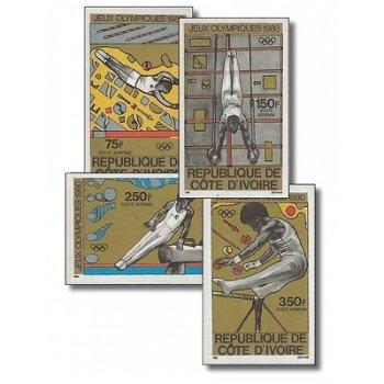 Olympische Sommerspiele 1980, Moskau - 4 Briefmarken ungezähnt postfrisch, Katalog-Nr. 649B-652B, El