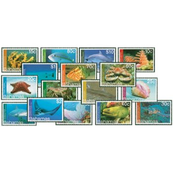 Unterwasserwelt - 16 Briefmarken postfrisch, Bahamas
