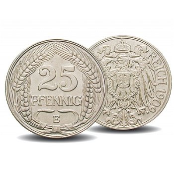 25 Pfennig-Münze, 1909-1912, Jaeger 18, Deutsches Kaiserreich