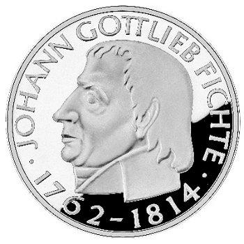 """5-DM-Silbermünze """"150. Todestag Johann Gottlieb Fichte"""", Polierte Platte"""