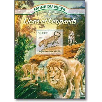Löwen und Leoparden - Briefmarken-Block postfrisch, Niger