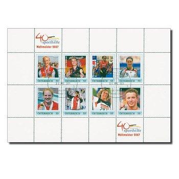 40 Jahre Sporthilfe: Deutsche Weltmeister 2007 - Kleinbogen gestempelt, Österreich
