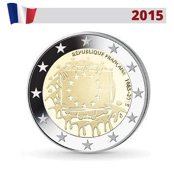 30 Jahre Europaflagge, 2 Euro Münze 2015, Frankreich