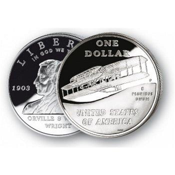 1. Flug der Gebrüder Wright - Silberdollar 2003, 1 Dollar Silbermünze, USA