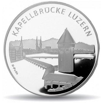Kapellbrücke Luzern, 20 Franken Münze 2005 Schweiz, Stempelglanz