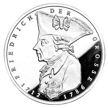 """5-DM-Münze """"200. Todestag Friedrich der Große"""", Polierte Platte"""
