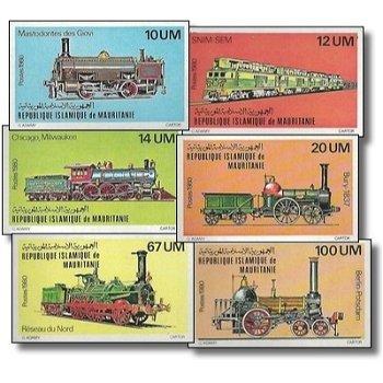 Lokomotiven - 6 Briefmarken ungezähnt postfrisch, Katalog-Nr. 704-709, Mauretanien