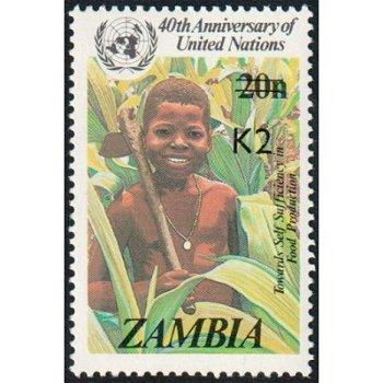 Nahrungsmittelproduktion - Briefmarke mit lokalem Aufdruck, Katalog-Nr. 556, Sambia