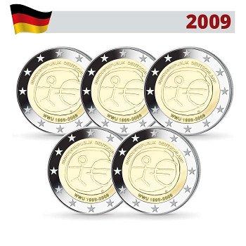 2 Euro Münze 2009, Wirtschafts- und Währungsunion, Deutschland, 5 Prägezeichen