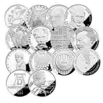 Die große Sammlung der 5-DM-Silbermünzen, 39 Gedenkmünzen, Stempelglanz, Deutschland