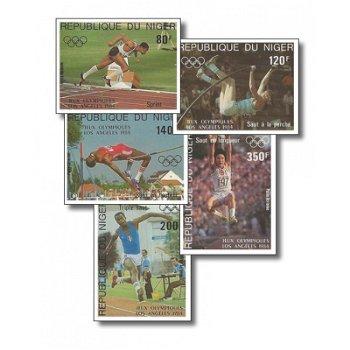Olympische Sommerspiele 1984 - 5 Briefmarken ungezähnt postfrisch, Katalog-Nr. 876-880, Niger