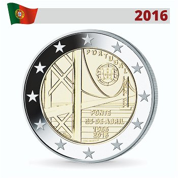 Brücke in Lissabon, 2 Euro Münze 2016, Portugal