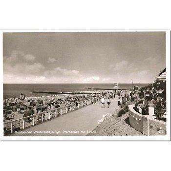 "2280 Westerland - Postkarte ""Promenade mit Strand"""