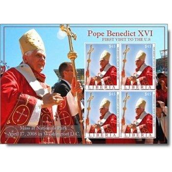 Papst Benedikt XVI. besucht die USA - Briefmarken-Block postfrisch, Liberia