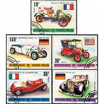 Historische Autos - fünf Briefmarken, Obervolta
