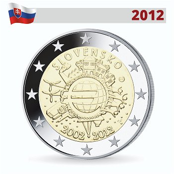 2 Euro Münze 2012, 10 Jahre Euro, Slowakei