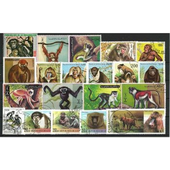 Monkeys - 100 different stamps