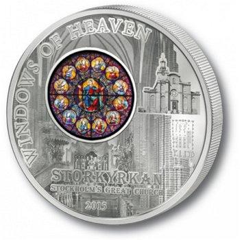 Himmelsfenster der Nikolaikirche Stockholm, 10 Dollar Silbermünze, Cook Inseln