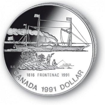 Dampfschiff Frontenac- Silberdollar 1991, 1 Dollar Silbermünze, Canada