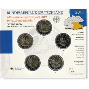 2-Euro-Gedenkmünzenset 2012 Deutschland, Serie Bundesländer, Stempelglanz, Bayern