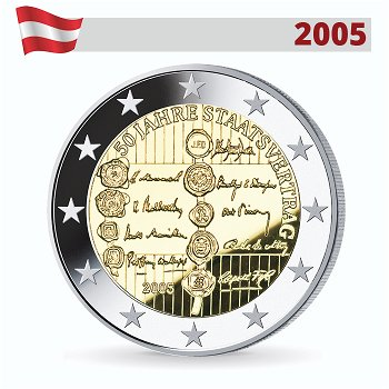 2 Euro Münze 2005, 50 Jahre Staatsvertrag, Österreich