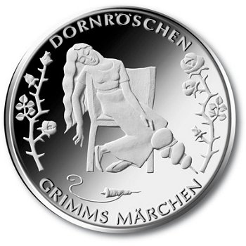 Grimms Märchen/Dornröschen, 10-Euro-Gedenkmünze2015, Stempelglanz
