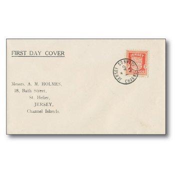 Wappen von Jersey - 1 Penny Briefmarke auf Ersttagsbrief, Jersey