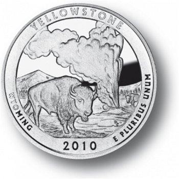 Yellowstone/Wyoming, Nationalpark Quarter Münze, USA
