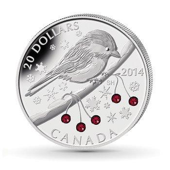 Vögel/Meise, 20 Dollar Silbermünze mit Swarovski-Kristallen, Canada