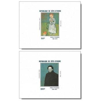100. Geburtstag von Pablo Picasso - 5 Luxusblocks postfrisch, Katalog-Nr. 741B-745B, Elfenbeinküste