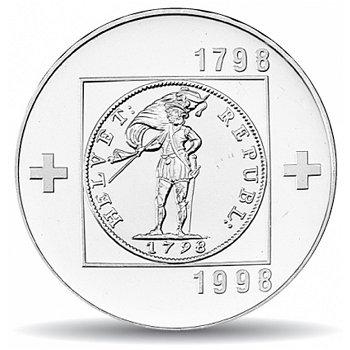 200 Jahre Helvetische Republik, 20 Franken Münze 1998 Schweiz, Polierte Platte