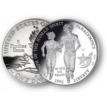 Olympiade Atlanta: Blinde Läuferin - Silberdollar 1995, 1 Dollar Silbermünze, USA