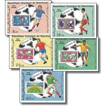 Fußball-Weltmeisterschaft 1986, Mexiko - 5 Briefmarken ungezähnt postfrisch, Katalog-Nr. 876-880, Ma