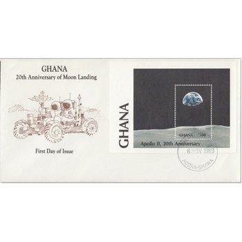 20 Jahre erste bemannte Mondlandung: Apollo 11 - Block 150 auf Ersttagsbrief, Gambia