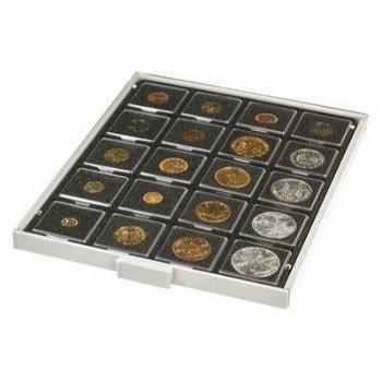 Münzbox CARBO mit 20 quadratischen Fächern für Münzrähmchen 50x50 mm, Lindner 2122C