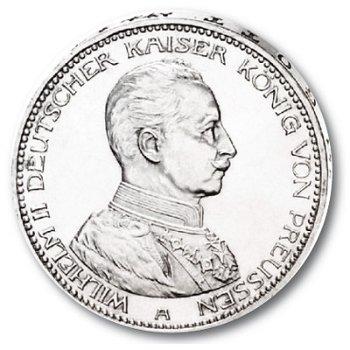 5 Mark Silbermünze, Kaiser in Uniform, Katalog-Nr. 114, Königreich Preußen