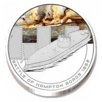 Berühmte Seeschlachten: Hampton Roads 1862, Silbermünze, Cook Inseln
