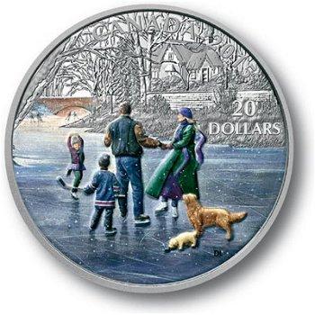 Eisläufer in Winterlandschaft, 20 Dollar Silbermünze mit Farbauflage, Canada