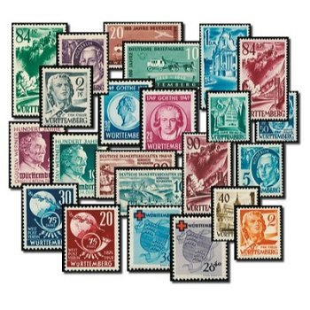 Württemberg complete - stamps mint never hinged, catalog no. 1-52, French zone Württemberg-Hohen