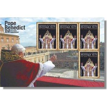 5. Jahrestag des Pontifikats von Papst Benedikt XVI. - Briefmarken-Block postfrisch, St. Vincent und