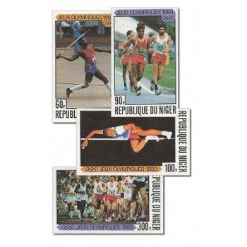 Olympische Sommerspiele 1980 - 4 Briefmarken ungezähnt postfrisch, Katalog-Nr. 695-698, Niger