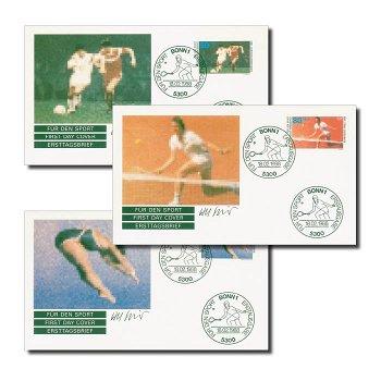 Olympische Spiele und Fußball-EM 1988 - 3 Ersttagsbriefe, Deutschland