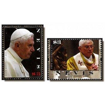 Papst Benedikt XVI. - 2 Briefmarken postfrisch, Nevis