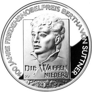 100 Jahre Nobelpreisverleihung an Bertha von Suttner, 10-Euro-Silbermünze 2005, Stempelglanz