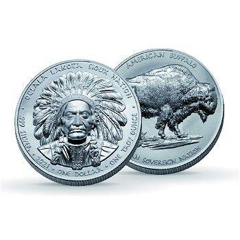 Sitting Bull: Oglala Lakota Sioux - 1 Dollar Silbermünze 2021, Polierte Platte, USA